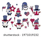 usa patriotic gnomes set on... | Shutterstock .eps vector #1971019232