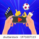 man watching video on his... | Shutterstock .eps vector #1971037115
