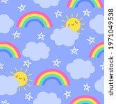 cute sun cartoon  rainbow ...   Shutterstock .eps vector #1971049538