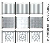 metal fence set on white... | Shutterstock .eps vector #1971093812