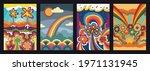 psychedelic floral backgrounds  ... | Shutterstock .eps vector #1971131945