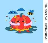 big pumpkin   character with... | Shutterstock .eps vector #1971207788