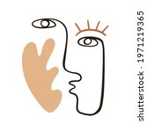abstract face portrait with... | Shutterstock .eps vector #1971219365