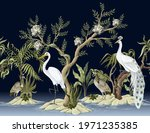 border with white peacocks and... | Shutterstock .eps vector #1971235385