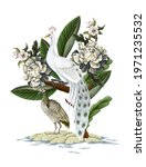 white peacocks and peonies.... | Shutterstock .eps vector #1971235532