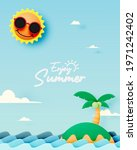 island and the beach paper cut...   Shutterstock .eps vector #1971242402