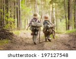 two boys go hiking with... | Shutterstock . vector #197127548