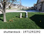 A Front Yard With Utility Flags ...
