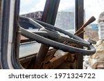 Steering Wheel In The Rusty Cab ...