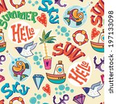 summer sea holiday background ... | Shutterstock .eps vector #197133098