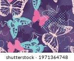pixelated graffiti butterflies... | Shutterstock .eps vector #1971364748