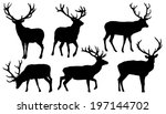 deer silhouettes on the white background