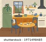 modern kitchen interior hand... | Shutterstock .eps vector #1971498485