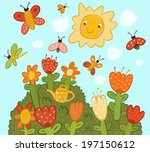 lawn with multicolored flowers. ... | Shutterstock . vector #197150612