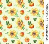 Sunflower And Pumpkin. Floral...