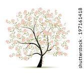 spring tree with roses for your ... | Shutterstock .eps vector #197161418