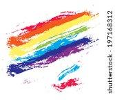 rainbow color grunge brush... | Shutterstock . vector #197168312