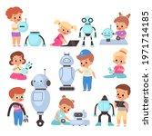 kids with robots. cartoon... | Shutterstock .eps vector #1971714185