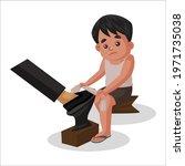 boy is cleaning man's shoe.... | Shutterstock .eps vector #1971735038