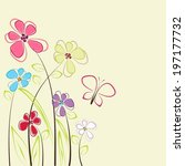 card with cute  flowers and... | Shutterstock .eps vector #197177732