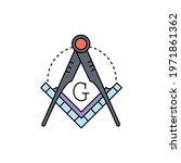 masonic lodge symbol color line ...   Shutterstock .eps vector #1971861362