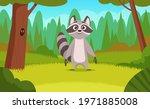 raccoon in forest. cartoon... | Shutterstock .eps vector #1971885008