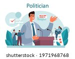 Politician concept. Idea of election and democratic governance. Political party program building, lawmaking and public administration. Isolated flat illustration