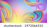 digital illustration, abstract background with colorful twisted lines, wide horizontal creative wallpaper