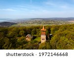 Csere hill lookout tower in Hungary next to lake balaton. Scenic viewpoint open on Alsoors,  Balatonalamadi and cities The buildings was renewed in 2001 built in 1935