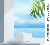 white podium display with palm... | Shutterstock .eps vector #1972264562
