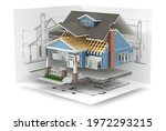 sliced  house with furniture... | Shutterstock . vector #1972293215