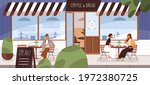 people drinking coffee on cafe... | Shutterstock .eps vector #1972380725