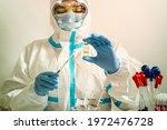 doctor or nurse in medical mask ... | Shutterstock . vector #1972476728