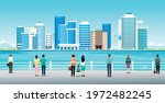 people and tourists are... | Shutterstock .eps vector #1972482245
