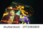 Small photo of Rome, Italy - January 20, 2021, cd The Jimi Hendrix Experience first group headed by the Great Jimi Hendrix, bassist Noel Redding, drummer Mitch Mitchell and cd Live at Monterey posthumous live album.