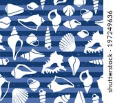 seashell pattern on blue stripes | Shutterstock .eps vector #197249636