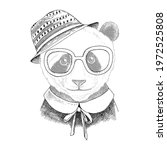 hand drawn portrait of panda... | Shutterstock .eps vector #1972525808