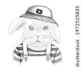 hand drawn portrait of rabbit... | Shutterstock .eps vector #1972525835