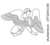 fantastic winged female sphinx. ... | Shutterstock .eps vector #1972641158