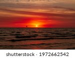 Red Sunset On The Gulf Of...