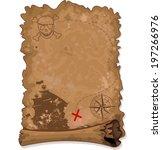 illustration of  pirate scroll... | Shutterstock .eps vector #197266976