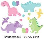 girl dinosaurs   pink dinosaurs | Shutterstock .eps vector #197271545