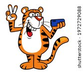 funny tiger cartoon characters  ... | Shutterstock .eps vector #1972729088