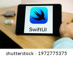 apple swift ui logo on the...