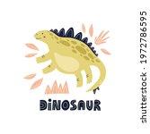 dinosaur stegosaurus hand drawn ... | Shutterstock .eps vector #1972786595