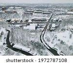 Drone Shot On A Snowfall  Snowy ...