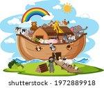 noah's ark with animals... | Shutterstock .eps vector #1972889918