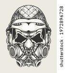 Illustration Vector Skull Army...