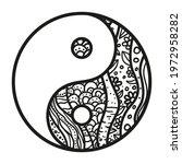 Yin And Yang. Zentangle. Hand...