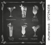 chalk drawings. cocktail menu | Shutterstock .eps vector #197296358